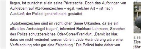 Kennzeichen Aufkleber Urteil by Infobericht Dekorative Aufkleber F 252 R Kfz Kennzeichen