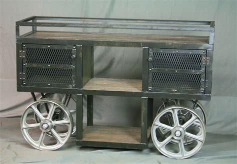 reclaimed wood industrial trolley bar cart combine