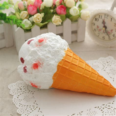 squishy jumbo ice cream cone 19cm slow rising white