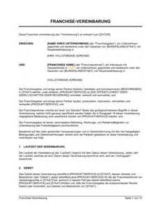 Word Vorlage Vereinbarung Franchise Vereinbarung Vorlagen Und Muster Biztree