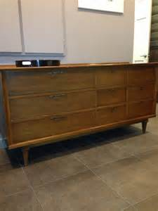 Sale distinguished stanley credenza or dresser with cane mirror mid