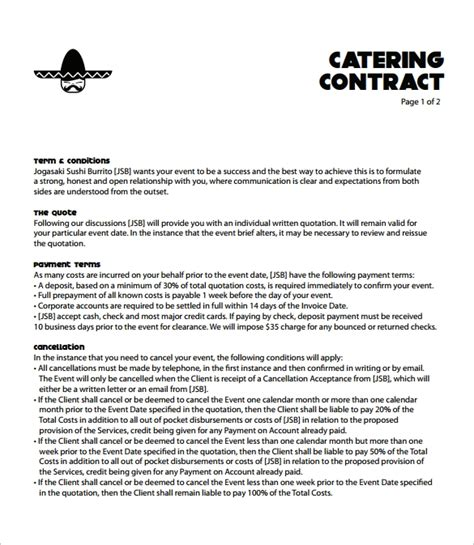 Catering Contract Template 9 Download Free Documents In Word Pdf Catering Contract Template