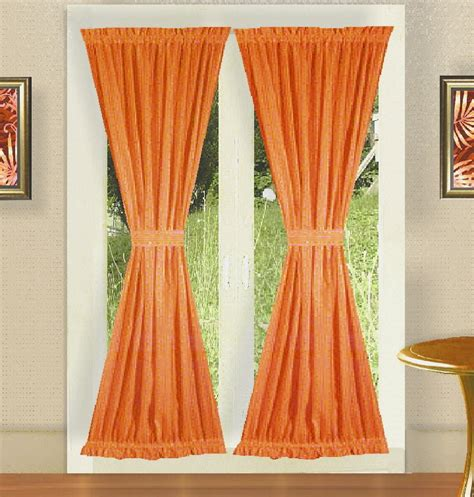 doors curtains solid orange colored french door curtain available in