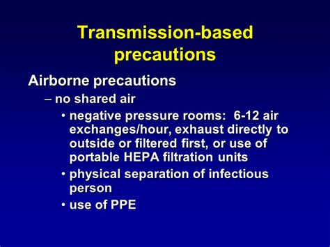 Negative Pressure Room Airborne Precautions by Infection Principles And Practices Session 4 Ppt