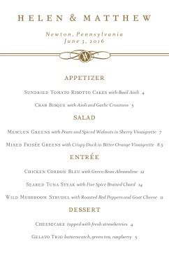 formal dinner party menu wedding archive