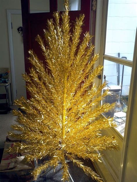 vintage gold stainless aluminum christmas tree 6 foot full