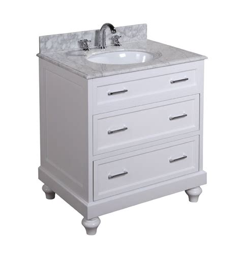 amelia 30 inch bathroom vanity carrera white includes a