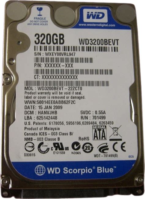 Hardisk Wd Scorpio Blue 320gb hdd laptop western digital 320gb wd3200bevt sata2 ii 8mb