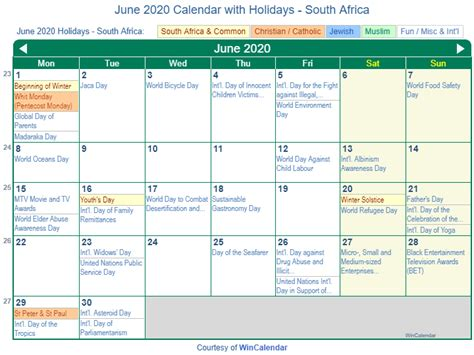 print friendly june  south africa calendar  printing