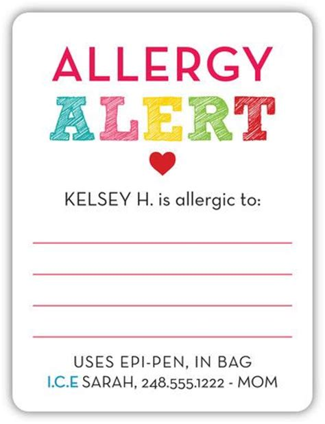 food allergy card template for children peanut allergy food allergy labels keeping safe