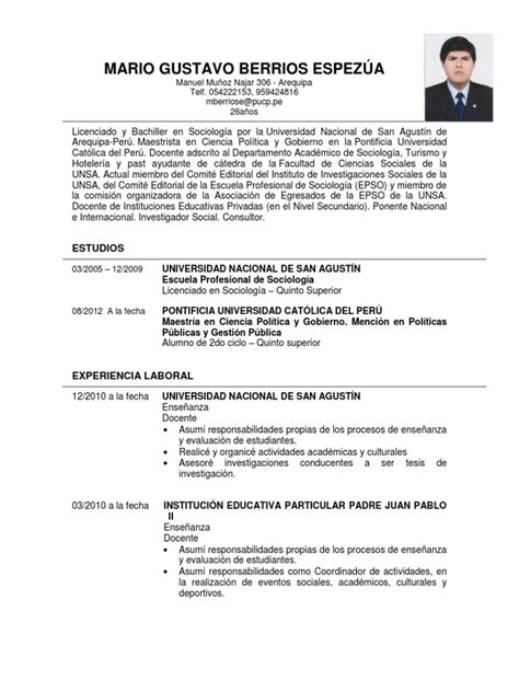 Modelo De Curriculum Vitae En Peru 2012 Modelo De Curriculum Vitae 2013