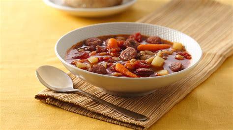 bratwurst soup bratwurst and vegetable soup recipe from betty crocker