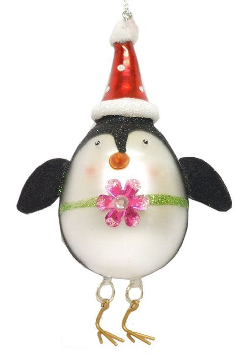gisela graham glass glitter penguin bauble christmas tree