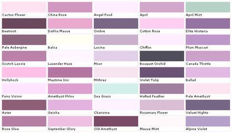 6 best images of lilac color chart sherwin williams color chart mauve paint color chart and
