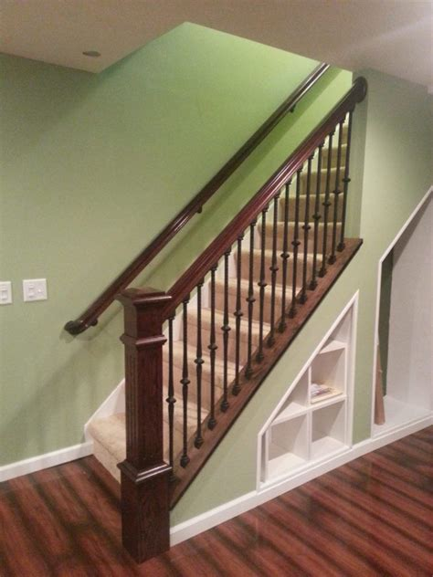 project  wood knee wall cap banister remodel basement remodeling knee wall