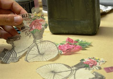 Decoupage Objects - how to decoupage with crackle finish on glass bottle