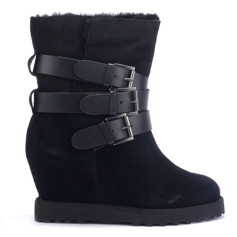 ash yes ter black suede wedge boots fleece lined