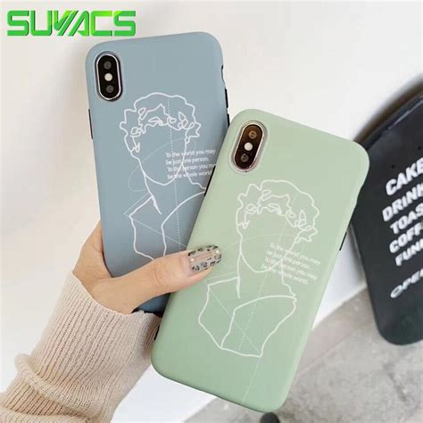 suyacs phone for iphone 6 6s 7 8 9 plus x xs max xr beautiful line david sculpture soft imd