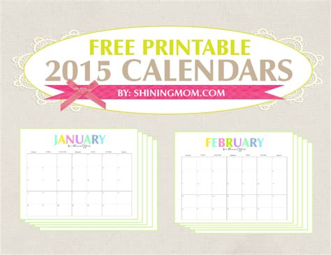free colorful printable planner 2015 the colorful 2015 monthly calendars by shiningmom com are