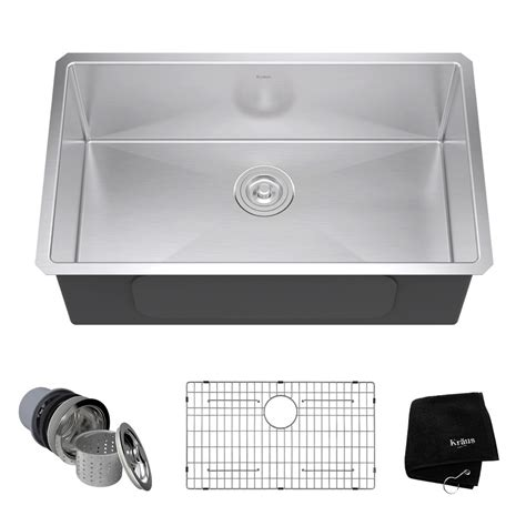 Single Basin Stainless Steel Undermount Kitchen Sink Shop Kraus Handmade 18 In X 30 In Single Basin Stainless Steel Undermount Residential Kitchen