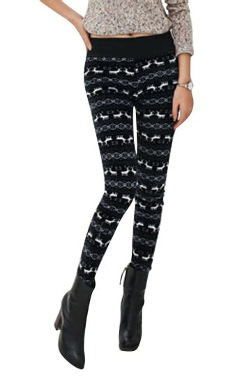 lined patterned leggings womens lined reindeer patterned high waist leggings black