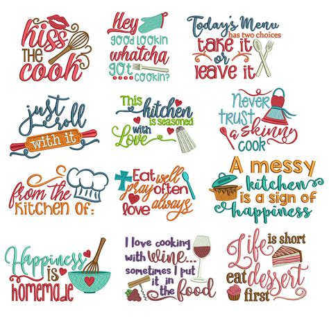 free kitchen embroidery designs kitchen word art sayings