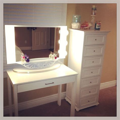 Small Vanity Desk Makeup Desk For A Small Area Desk From Target Drawers From Home Decorators Mirror From