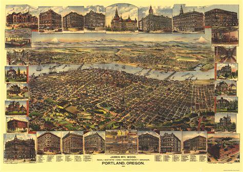 bird eye view map map vintage portland