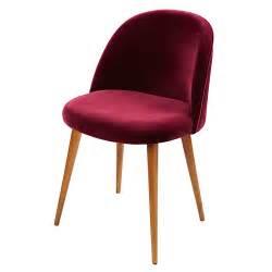 chaise en velours bordeaux mauricette maisons du monde