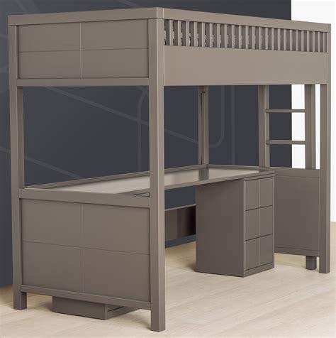 lit superposé avec bureau caisson de support pour mezzanine quarr 233 quax marques