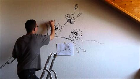 painting on wall sakura flower mural wall painting youtube
