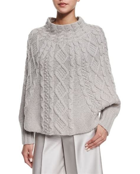knitting pattern poncho with sleeves co cable knit sleeve poncho in gray lyst