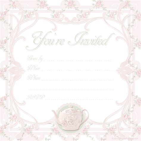printable tea invitations template tea printable kits