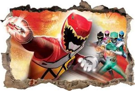 Sticker Stiker Anak Karakter Power Rangers 3 power rangers dino charge smashed wall decal removable graphic wall sticker h205