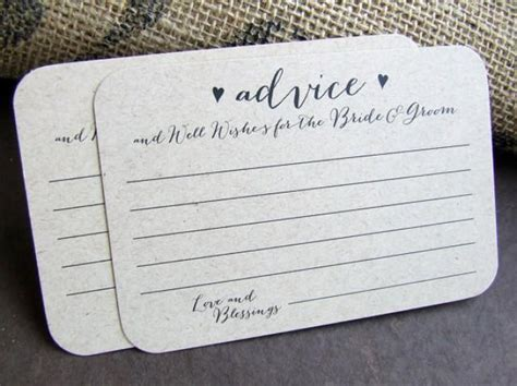 Wedding Advice And Well Wishes Cards by 100 Wedding Advice For The And Groom Printed Cards