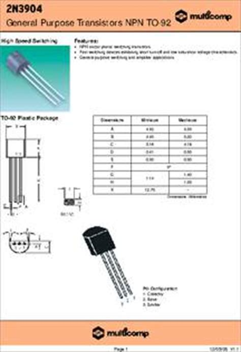 hie transistor bjt 2n3904 datasheet specifications transistor polarity npn collector