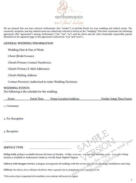 florist wedding contract template amanda veronee comparing wedding florists