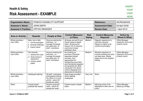 exle of risk assessment report template best photos of risk assessment exles safety risk