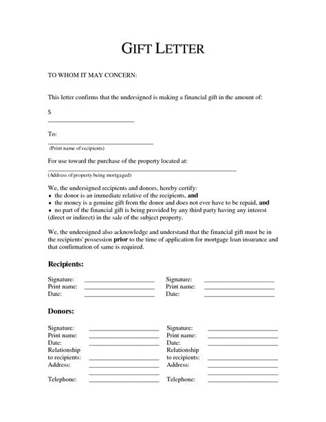 Gift Letter Sle Template Resume Builder Mortgage Gift Letter Template