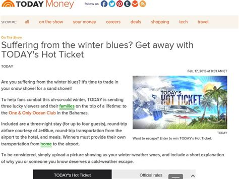 Todays Sweepstakes - today s hot ticket sweepstakes sweepstakes fanatics