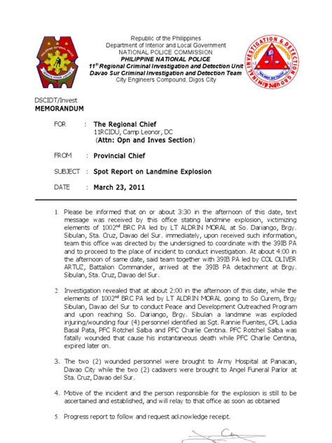 sle format of spot report spot report landmine explosion