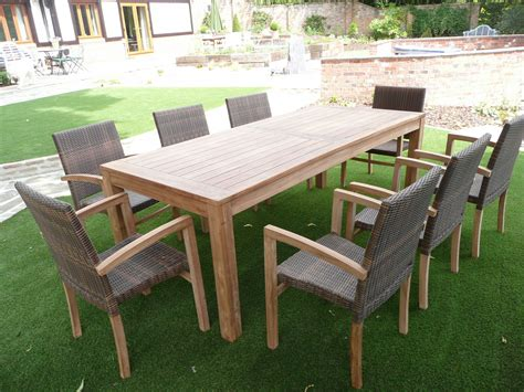 Cannes 8 Seater Teak & Rattan Patio Set   Humber Imports