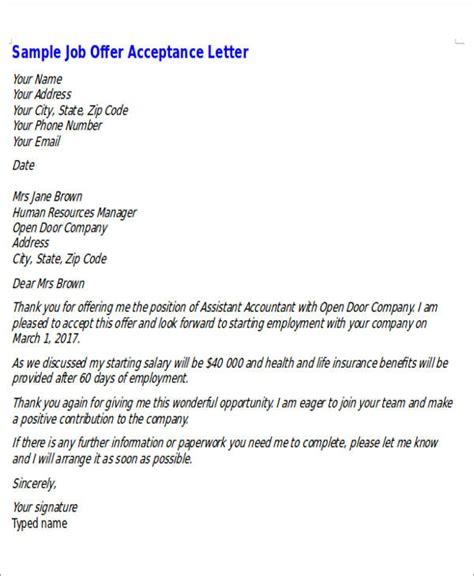 formal acceptance letter 6 sle formal offer letters sle templates
