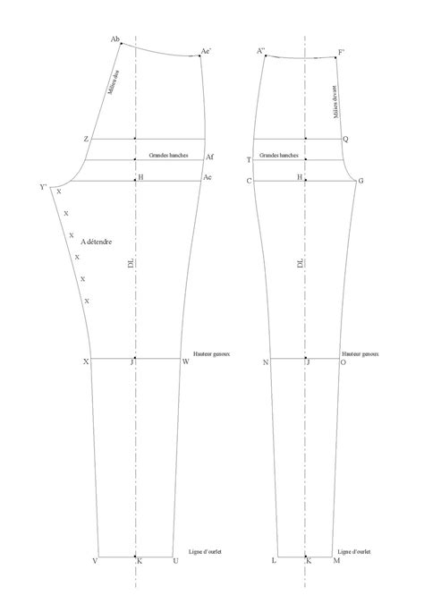 Base pattern for slim-cut cigarette pants that sit on the