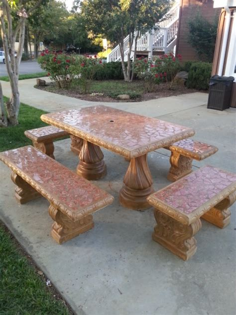 Concrete Patio Tables And Benches Prettypotsandbeyond Terra Cotta Pots Terracotta Pots Planters Outdoor Decoration