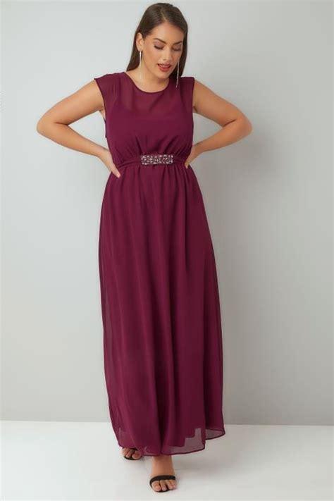 Id 740 Split Mesh Dress burgundy chiffon maxi dress with embellished tie waist