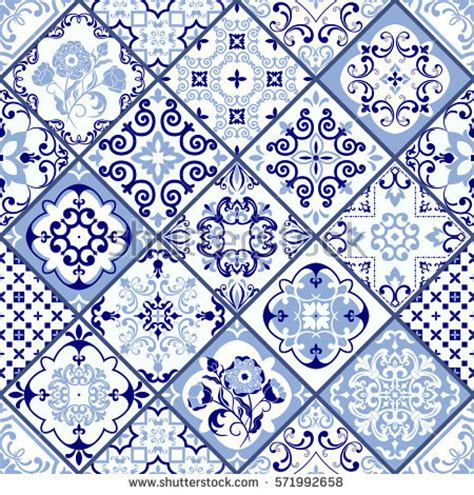 fliese portugal vintage seamless pattern portugal style azulejo stock