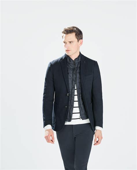 Zara Structured Blazer zara structured blazer structured blazer in blue for navy blue lyst