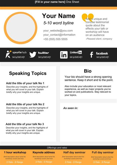 1 page template free speaker one sheet template speakerhub