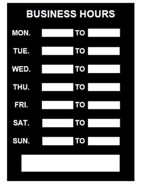 business hours sign template printable pdf download